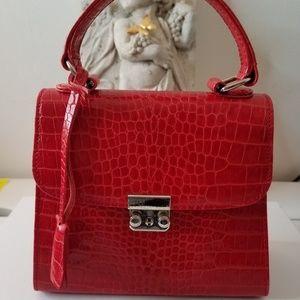 Banana Republic Red Mini Hand bag purse Leather